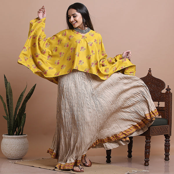 Mustard High Low Kaftan Top with Beige Crushed Skirt