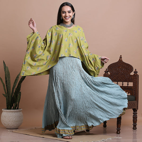 Olive High Low Kaftan Top with Sky Blue Crushed Skirt