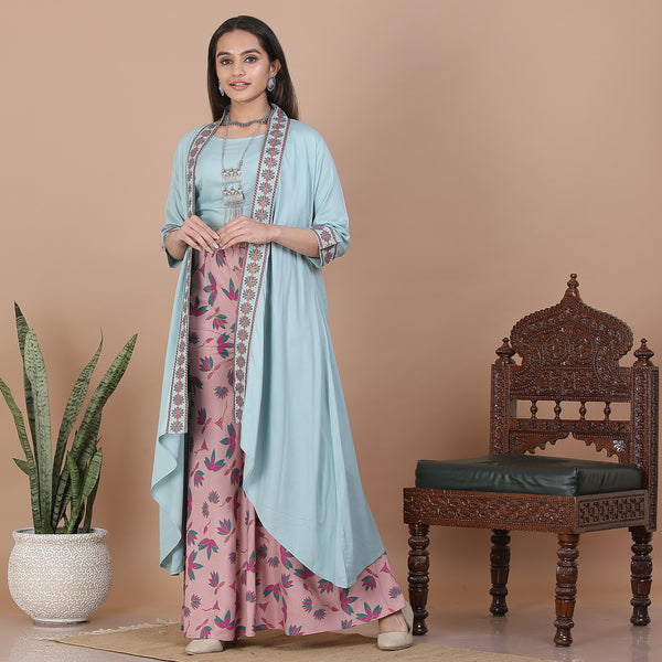 Sky Blue & Baby Pink Palazzo & Shrug Set with Blouse