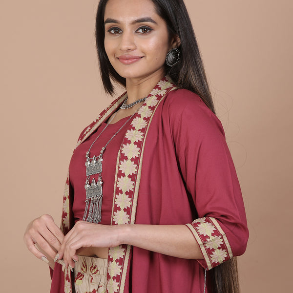 Maroon & Beige Palazzo & Shrug Set with Blouse