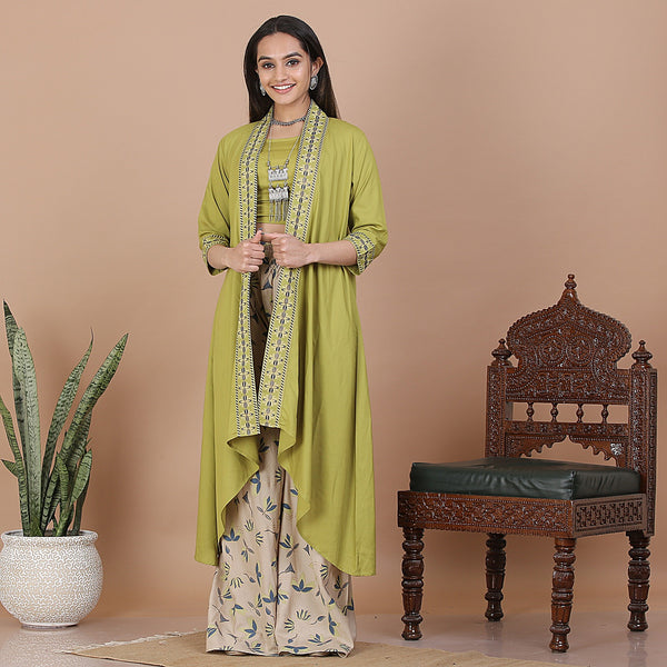 Olive & Beige Palazzo & Shrug Set with Blouse