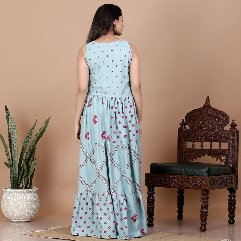 Sky Blue Bandhani Printed Tiered Dress