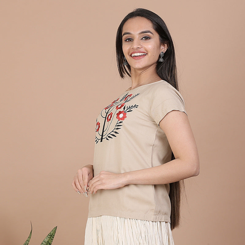 Beige Top with Multicolour Floral Embroidery