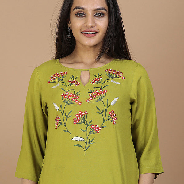 Olive Floral Embroidery Panelled Top with 3/4th Sleeves