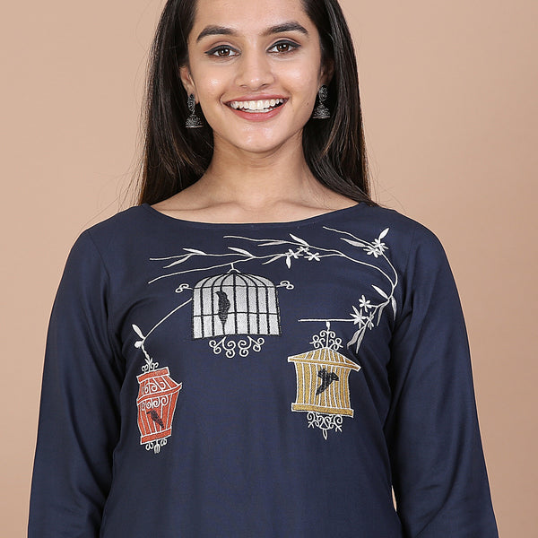 Blue Straight Kurta with Pocket Details & Cage on the Tree Embroidery