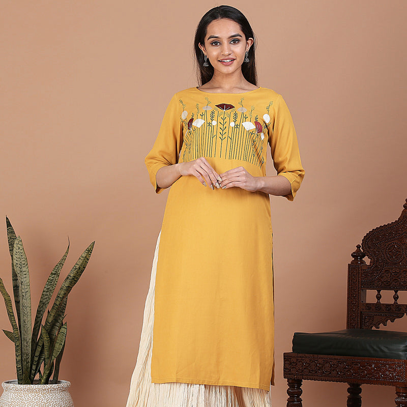 Mustard Straight Kurta with Floral Embroidery