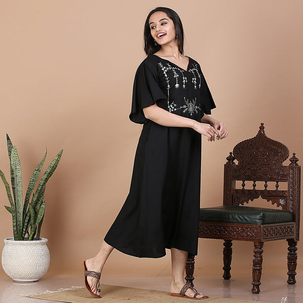 Black Yoke Embroidered Flared Dress with Pockets & High Low Sleeve