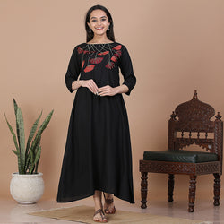 Black with Floral Embroidery Flared Dress