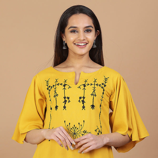 Mustard Yoke Embroidered Flared Dress with Pockets & High Low Sleeve