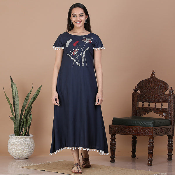 Indigo Embroidered Midi Dress