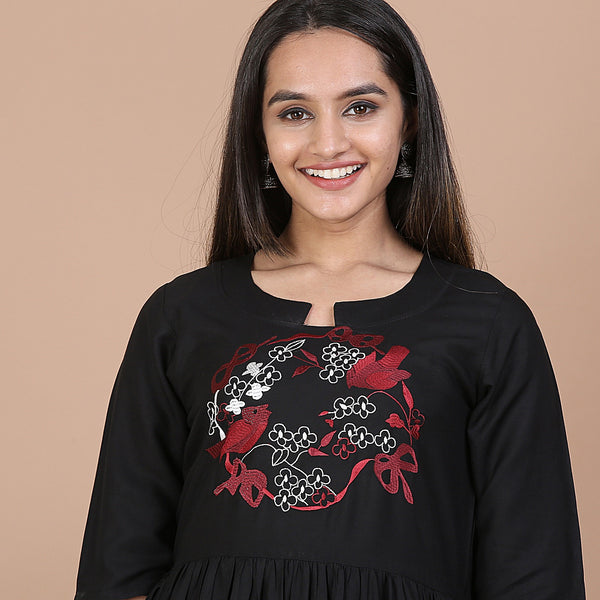 Black Floral Bird Embroidered Gathered Dress with Pockets
