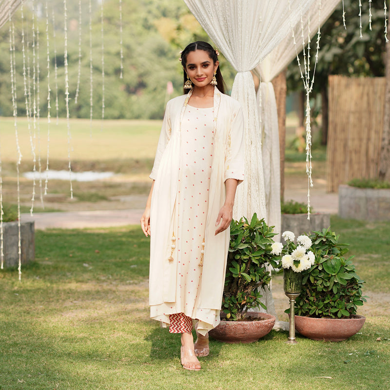 Naaz Off White Shrug Set