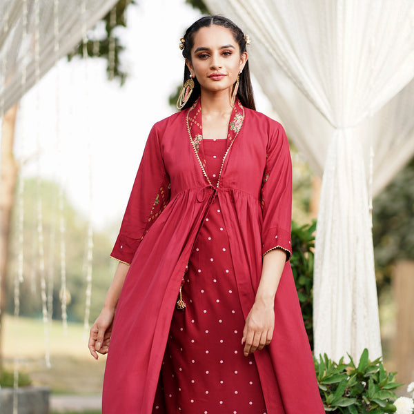 Naaz Maroon Shrug Set