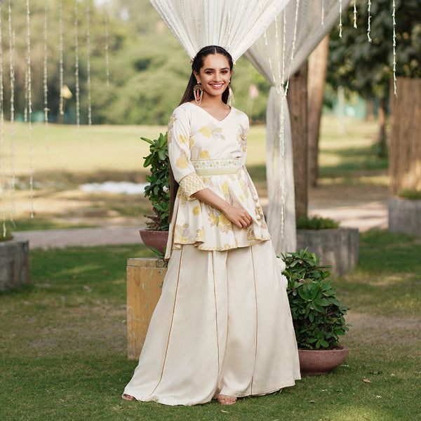 Inaayat Off White Sharara Set