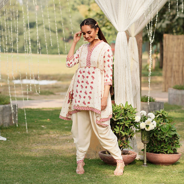 Gulabo Off White Dhoti Set