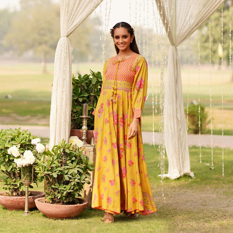 Mehrunisa Mustard Dress