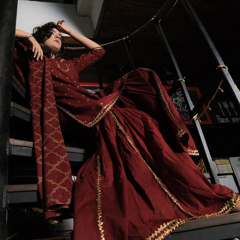 Maroon & Gold Gharara Kurta Dupatta Set with Gota Work