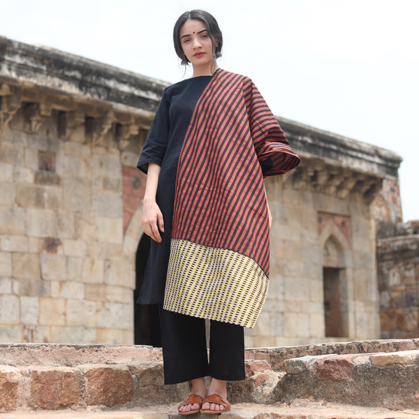 Black Salwar Kurta with Hand Printed Dupatta
