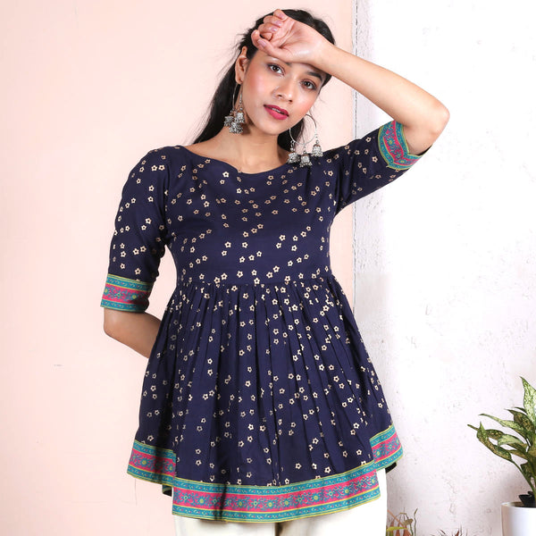 Indigo Gold Floral Printed Gathered Top
