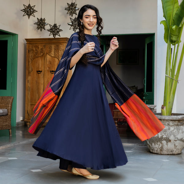 Indigo Flared Kurta Palazzo Set with Multicolour Dupatta