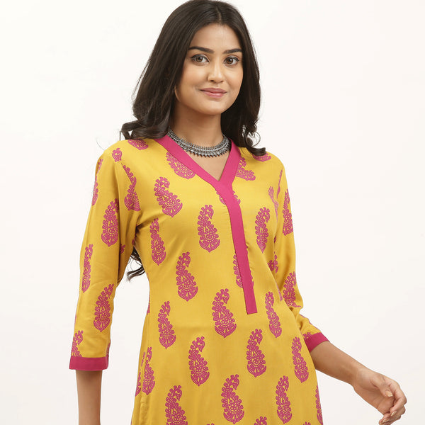 Yellow & Pink Kurta Flared Palazzo Set