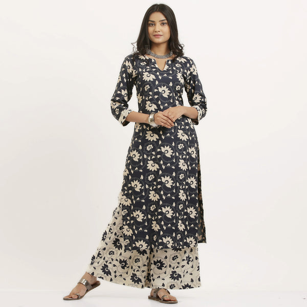 Blue Floral Kurta Set with Off White Flared Palazzo