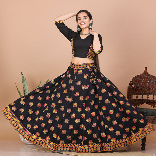 Black Kalidaar Lehenga Set with Blouse
