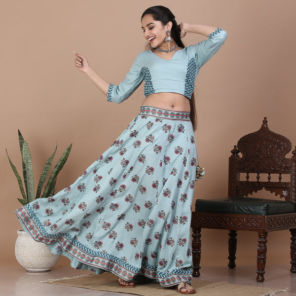 Sky Blue Kalidaar Lehenga Set with Blouse