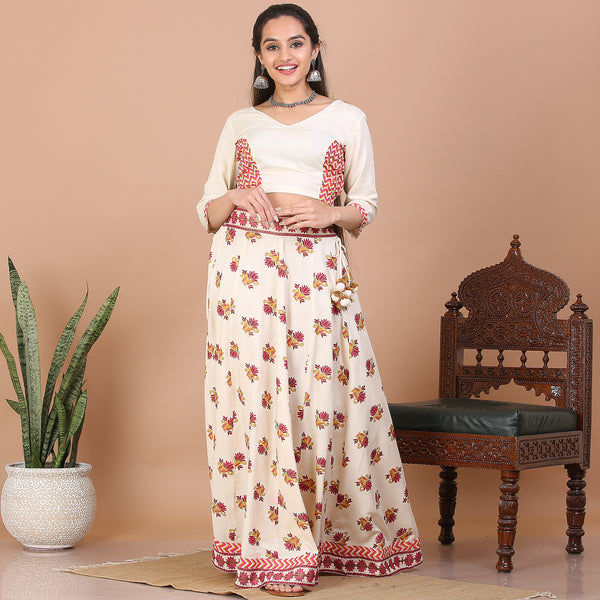 Off White Kalidaar Lehenga Set with Blouse