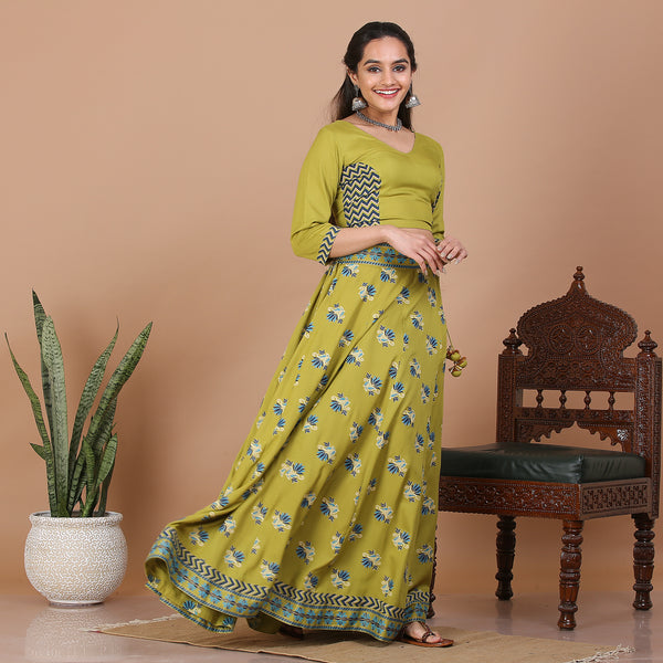 Olive Kalidaar Lehenga Set with Blouse