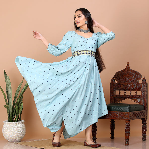 Sky Blue Asymmetric Kite Dress with Belt