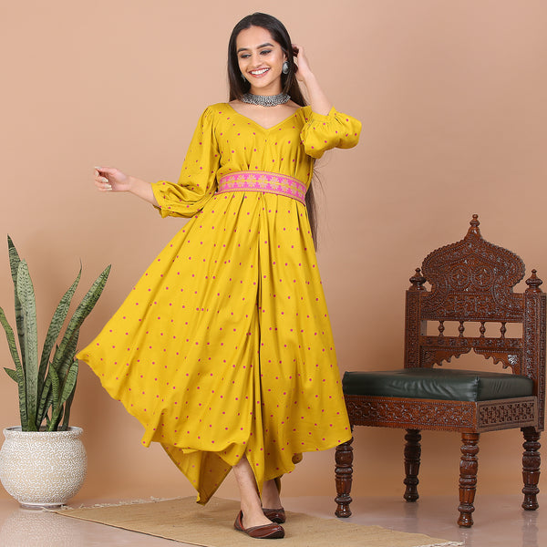 Mustard Asymmetric Kite Dress with Belt