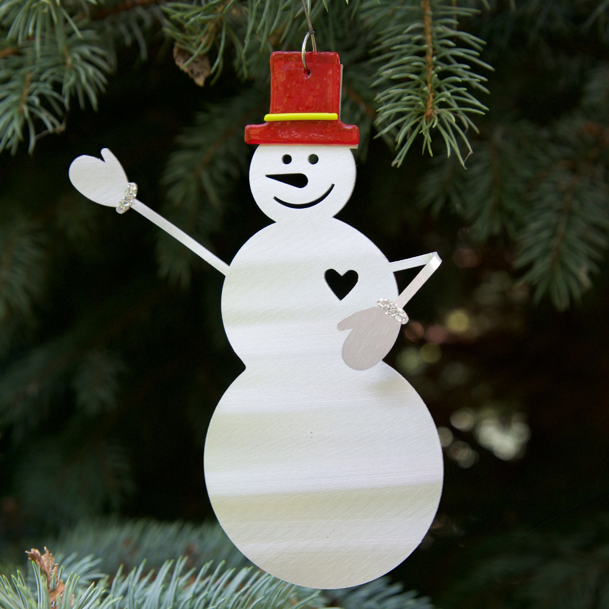 Smiling Snowman Ornament - by Sondra Gerber - ©2019 Metal Petal Art