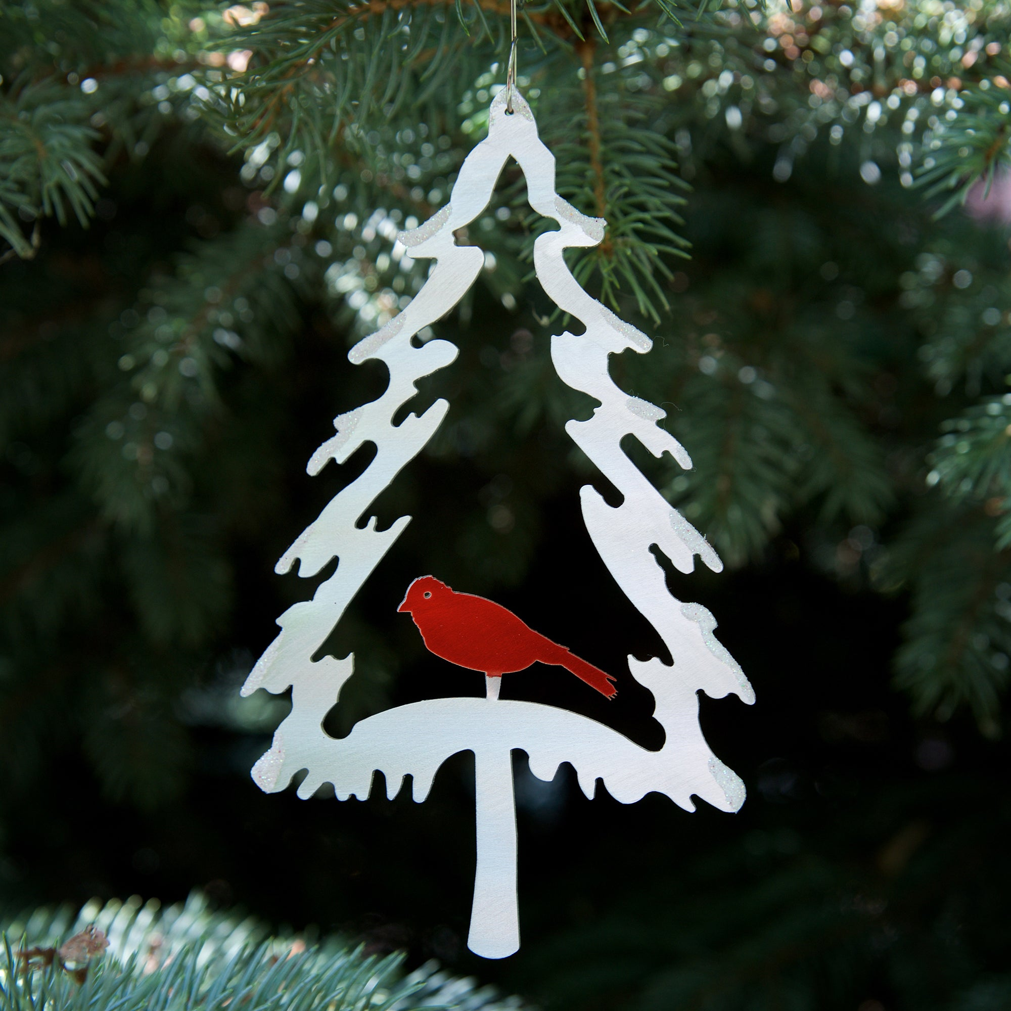 Evergreen Bird Ornament - by Sondra Gerber - ©2019 Metal Petal Art