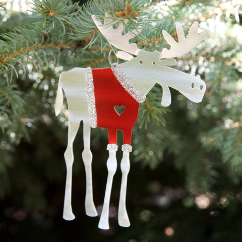 Santa Moose Ornament - by Sondra Gerber - ©2019 Metal Petal Art