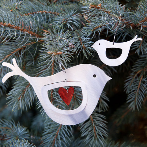 Mama & Baby Bird Ornament set - by Sondra Gerber - ©2019 Metal Petal Art