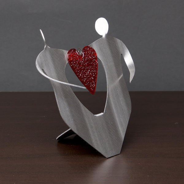 Hearts Entwined with Glass Heart - Retiring - by Sondra Gerber - ©2019 Metal Petal Art
