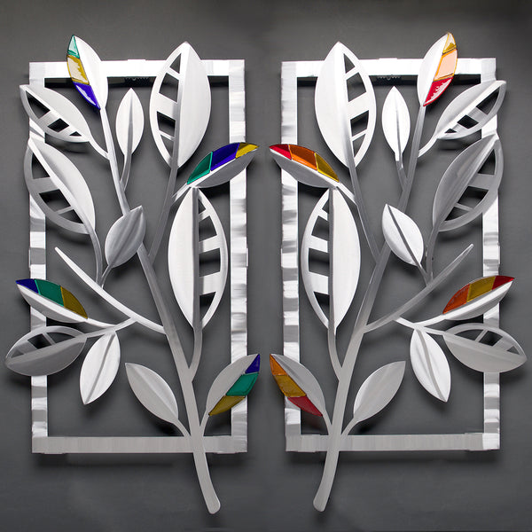 Striped Leaves with Glass - by Sondra Gerber - ©2019 Metal Petal Art