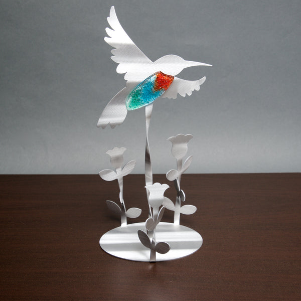 Hummingbird Garden with Glass - by Sondra Gerber - ©2019 Metal Petal Art