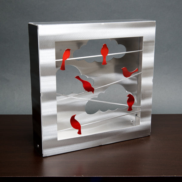 Birds on a Wire Box - Collector Series - by Sondra Gerber - ©2019 Metal Petal Art