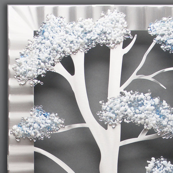 Three Trees with Glass - by Sondra Gerber - ©2019 Metal Petal Art