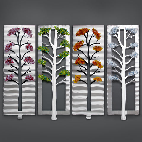 Four Seasons with Glass - by Sondra Gerber - ©2019 Metal Petal Art