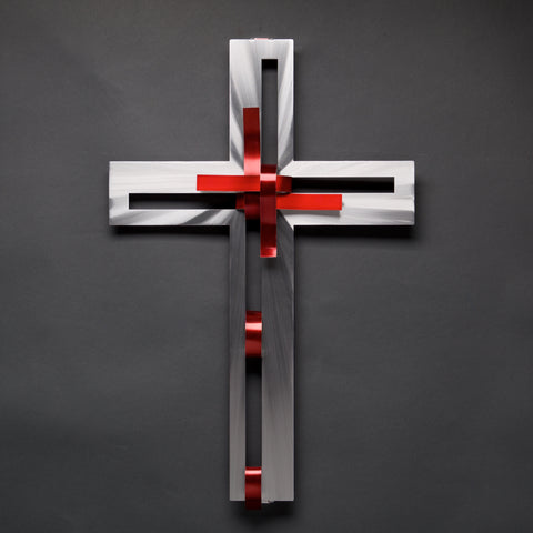 Ribbon Cross - Collector Series - by Sondra Gerber - ©2019 Metal Petal Art