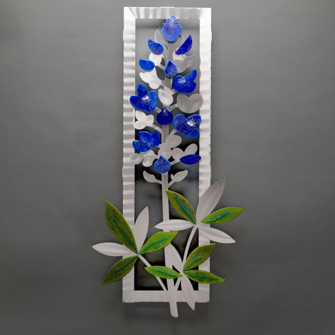 Delphinium with glass - by Sondra Gerber - ©2019 Metal Petal Art