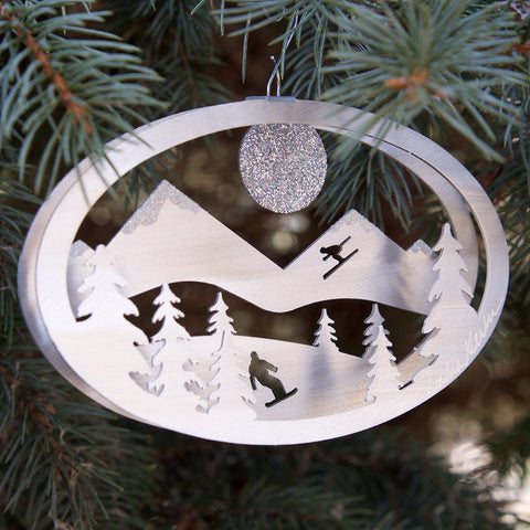 Winter Fun Ornament - by Sondra Gerber - ©2019 Metal Petal Art