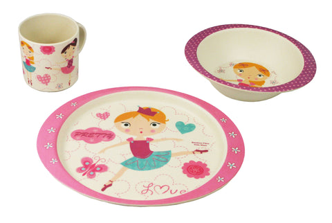 BAMBOO STUDIO KIDS DINNERWARE SET, BALLERINA, 5 PIECE