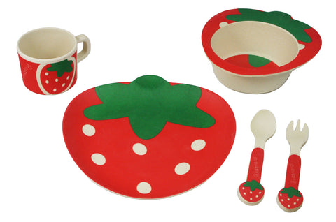 BAMBOO STUDIO KIDS DINNERWARE SET, SASSY STRAWBERRY, 5 PIECE