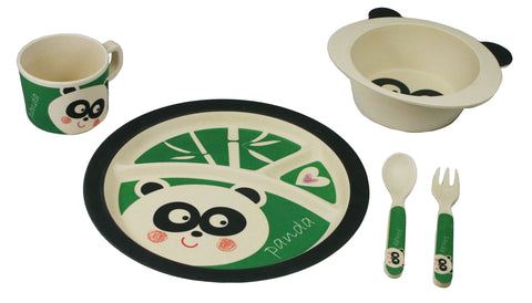 BAMBOO STUDIO KIDS DINNERWARE SET, PEYTON THE PANDA, 5 PIECE