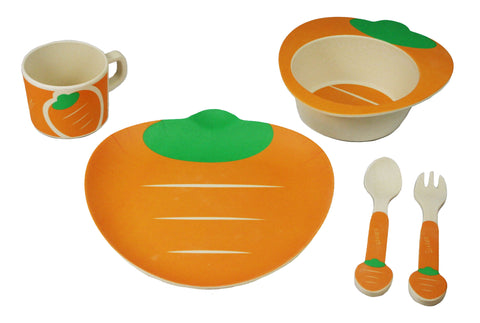 BAMBOO STUDIO KIDS DINNERWARE SET, CRAZY CARROT, 5 PIECE