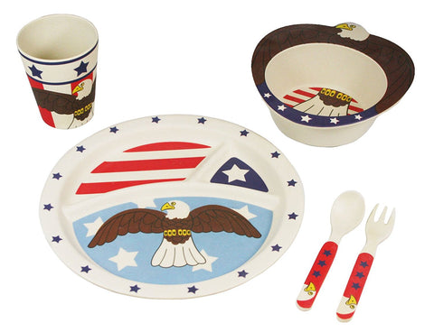 BAMBOO STUDIO KIDS DINNERWARE SET, LIBERTY THE EAGLE, 5 PIECE